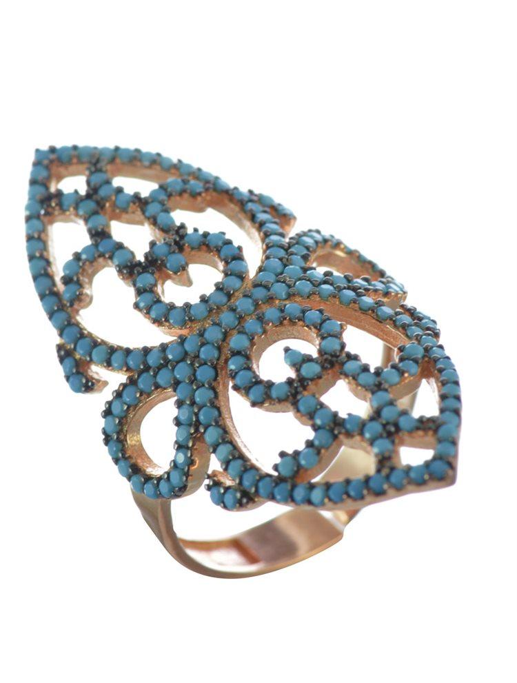 Εντυπωσιακό Δαχτυλίδι δαντελωτό από ρόζ επιχρυσωμένο ασήμι με πέτρες τιρκουάζ