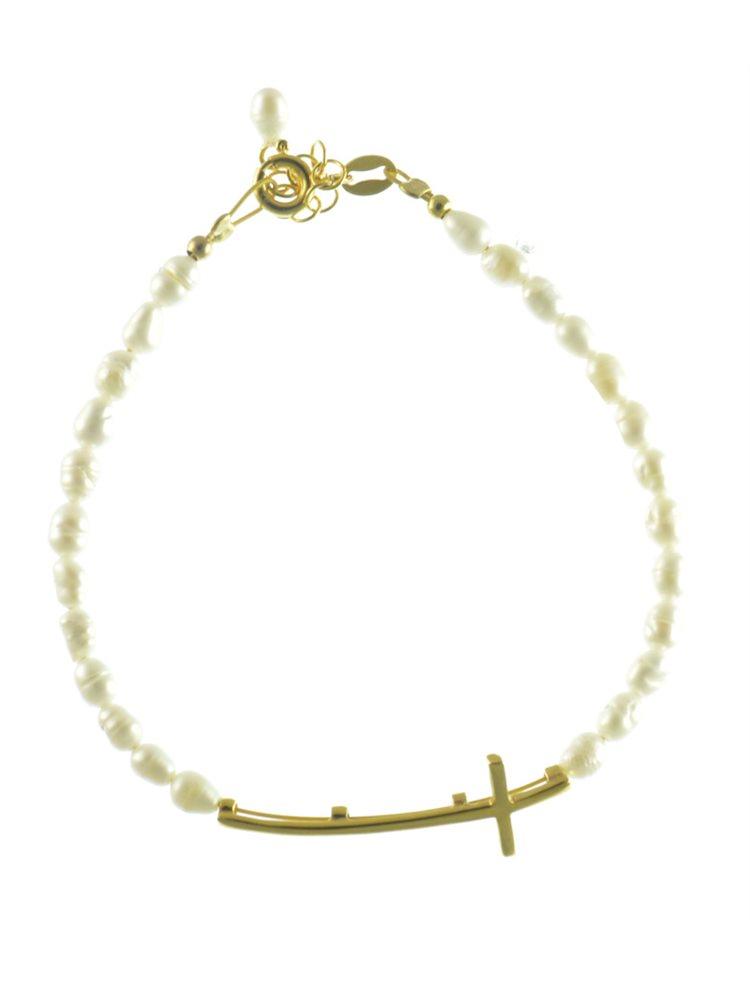 Βραχιόλι με μαργαριτάρια και σταυρό από επιχρυσωμένο ασήμι
