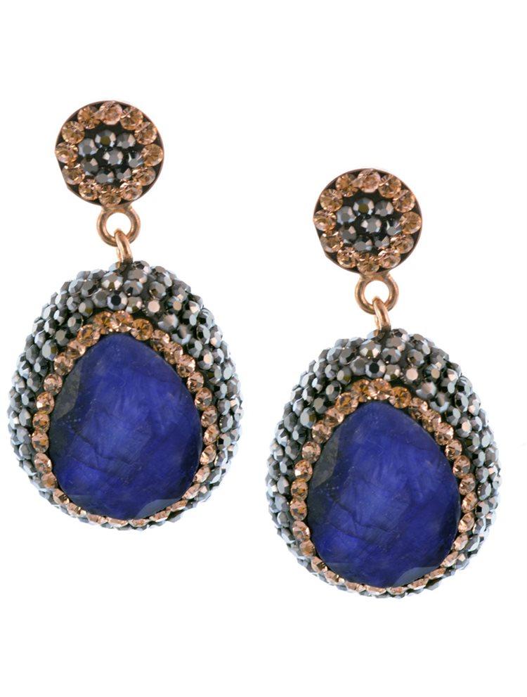 Εντυπωσιακά σκουλαρίκια druzy με πέτρα μπλέ ζαφειριού σε ρόζ επιχρυσωμένο ασήμι