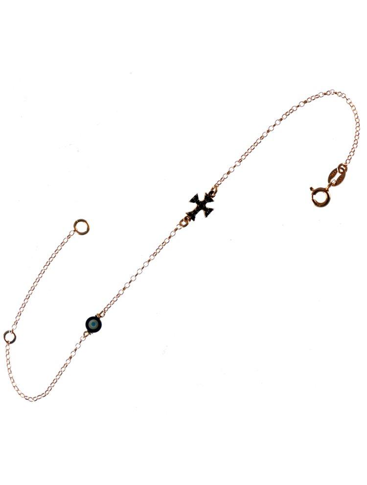 Βραχιόλι με σταυρό και ματάκι στο πλάι από ρόζ επιχρυσωμένο ασήμι με πέτρες ζιργκόν