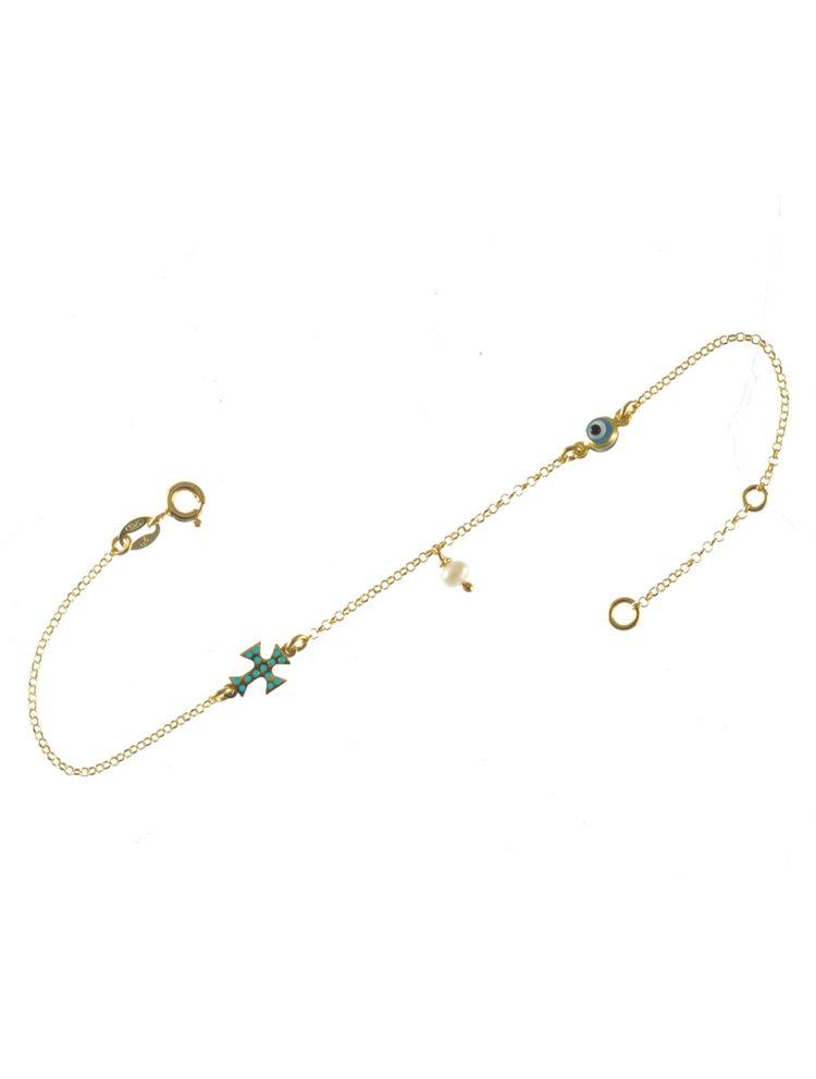 Βραχιόλι ματάκι με σταυρό και μαργαριτάρι σε επιχρυσωμένο ασήμι με τιρκουάζ πέτρες