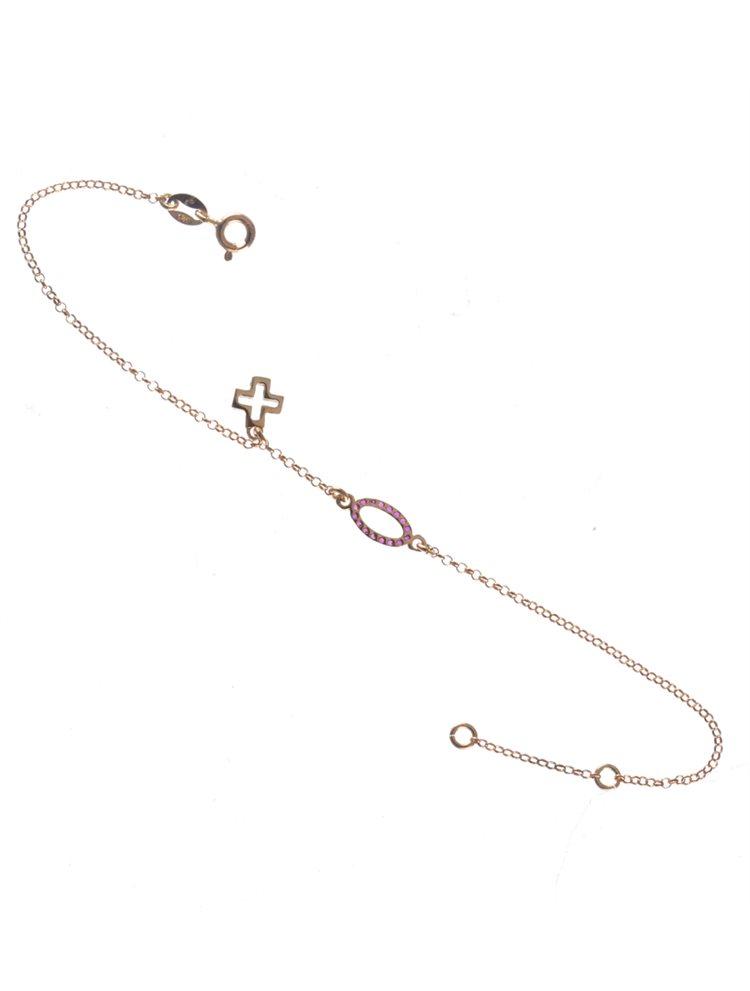 Βραχιόλι από ρόζ επιχρυσωμένο ασήμι με κύκλο και σταυρό και με πέτρες ζιργκόν