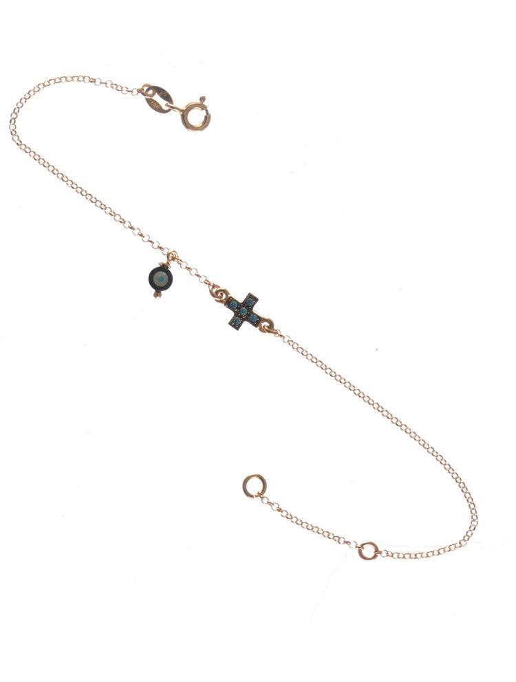 Βραχιόλι με ματάκι και σταυρό από ρόζ επχιρυσωμένο ασήμι με τιρκουάζ πέτρες