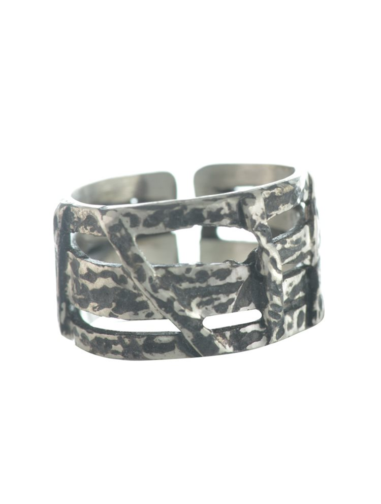 Χειροποίητο δαχτυλίδι βεράκι από ασήμι και μαύρο πλατίνωμα