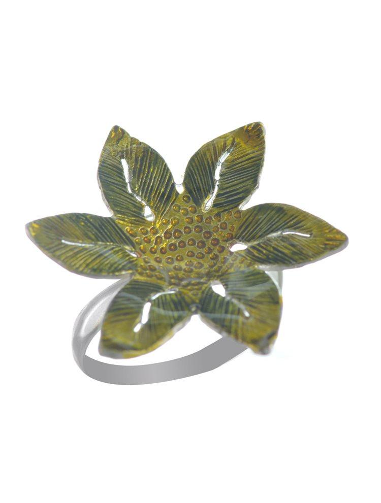 Χειροποίητο δαχτυλίδι λουλούδι με σμάλτο από ασήμι
