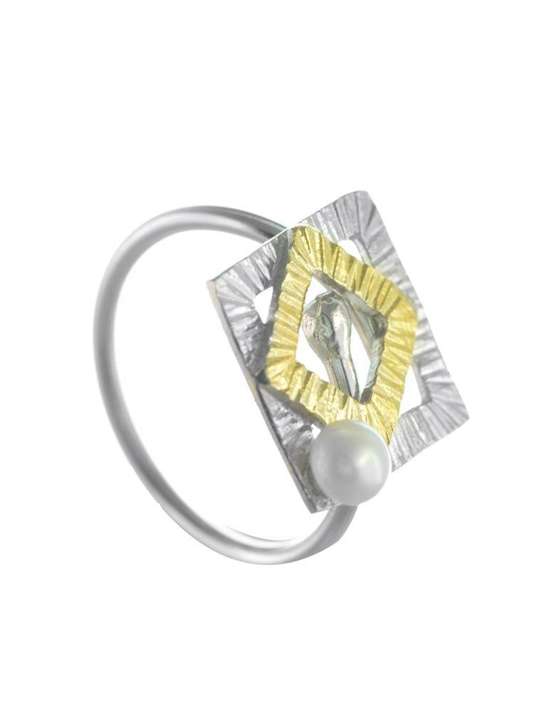 Χειροποίητο δαχτυλίδι από ασήμι και με μαργαριτάρι