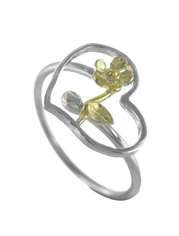 Χειροποίητο δαχτυλίδι καρδιά με λουλούδι από ασήμι