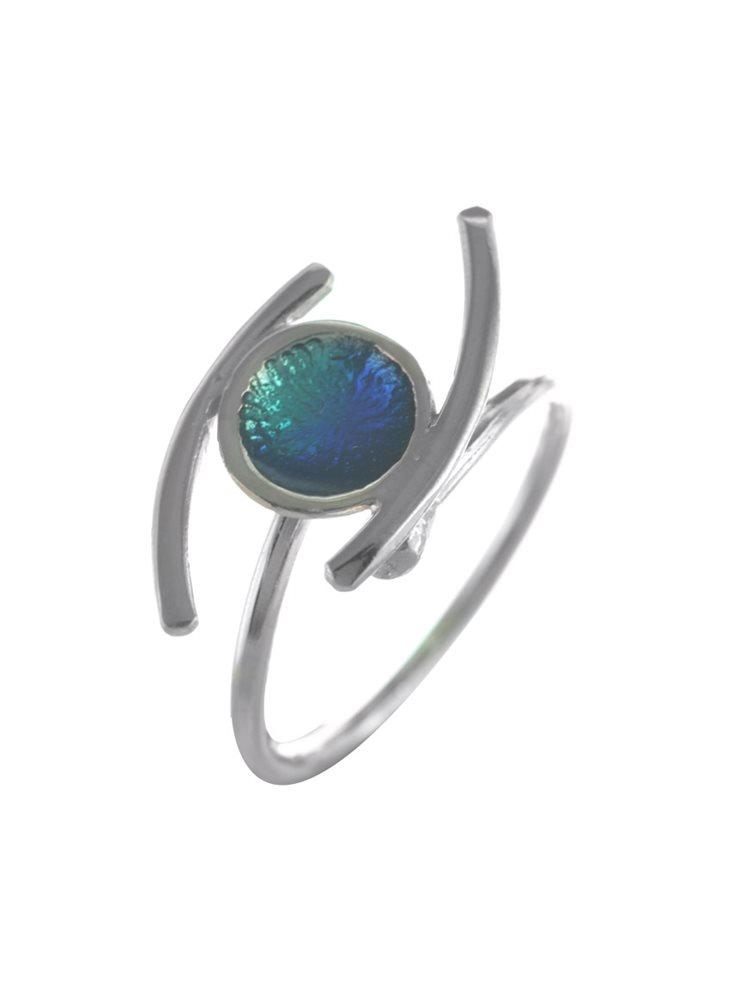 Χειροποίητο δαχτυλίδι μάτι από ασήμι με σμάλτο
