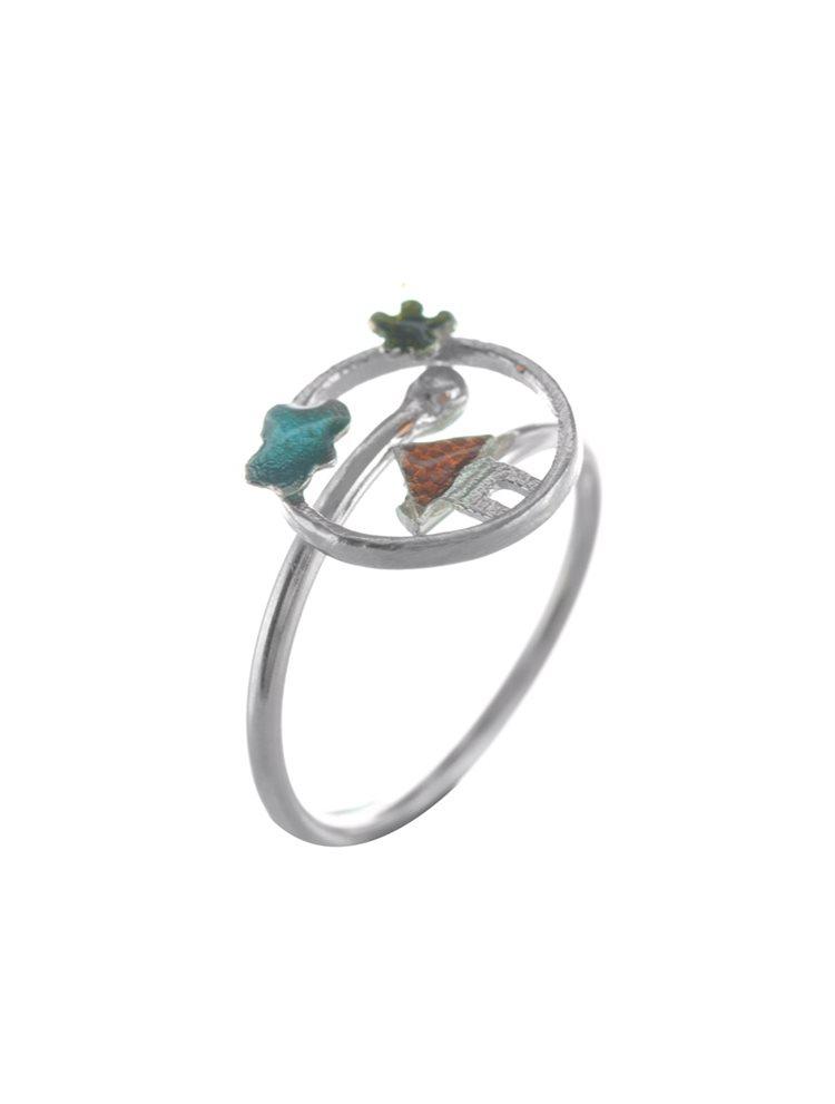 Χειροποίητο δαχτυλίδι σπιτάκι από ασήμι