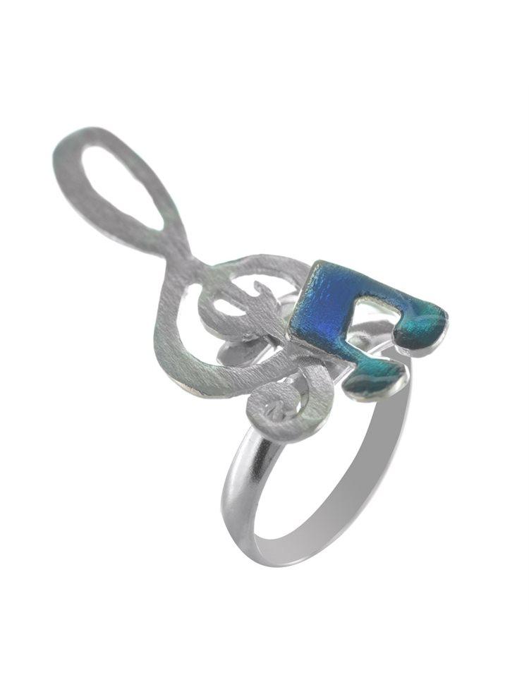 Χειροποίητο δαχτυλίδι νότες από ασήμι και σμάλτο