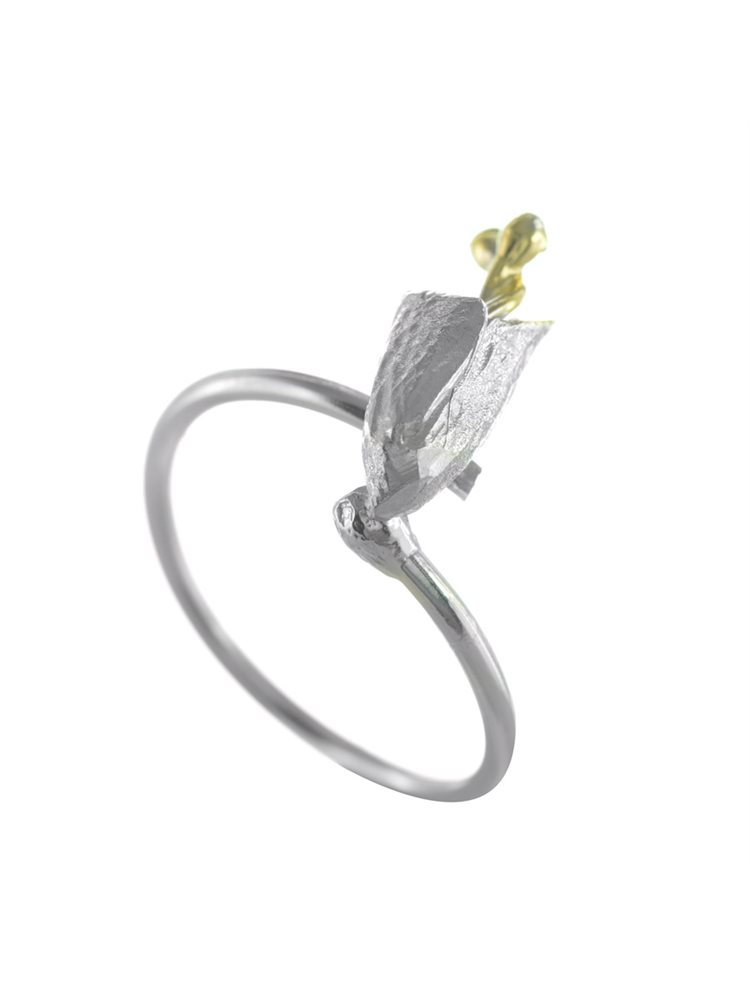 Χειροποίητο δαχτυλίδι λουλούδι από ασήμι
