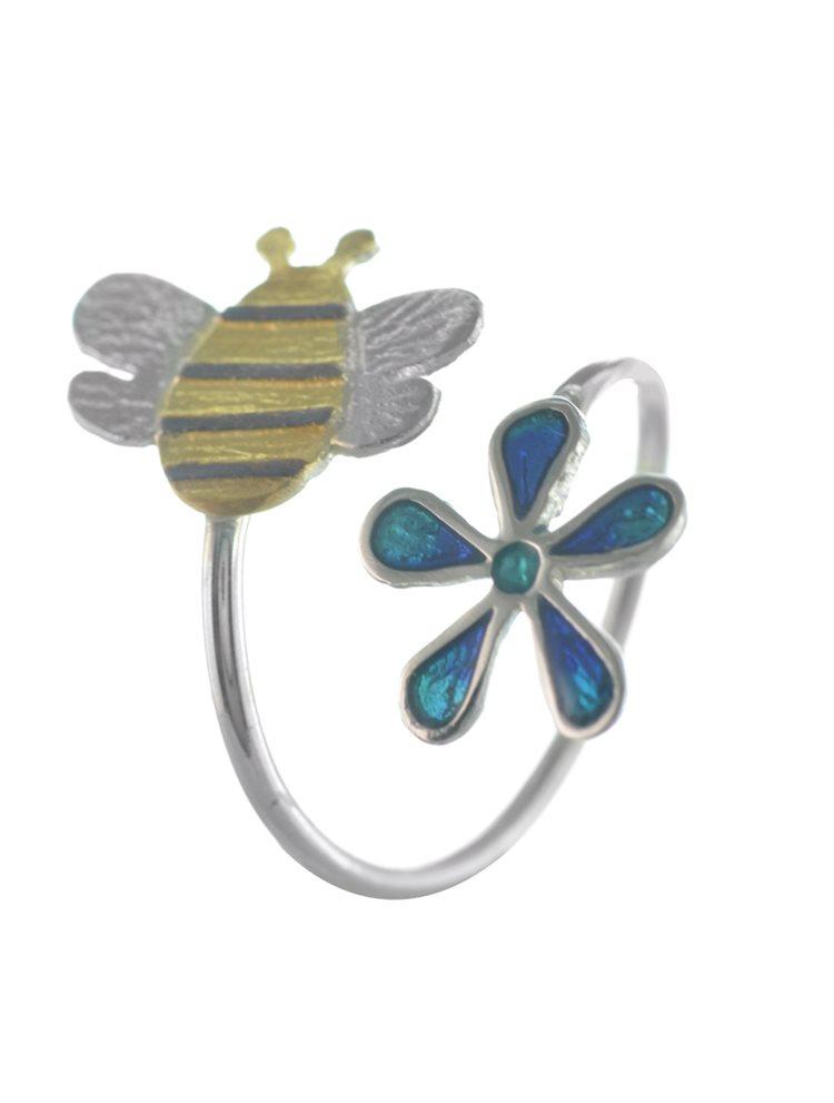 Χειροποίητο δαχτυλίδι μέλισσα σε λουλούδι από ασήμι