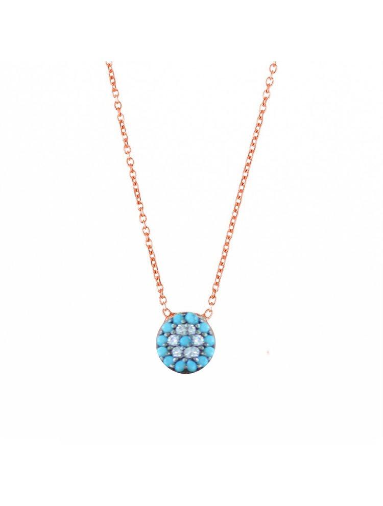 Κολιέ ματάκι από ρόζ επιχρυσωμένο ασήμι με πέτρες τιρκουάζ