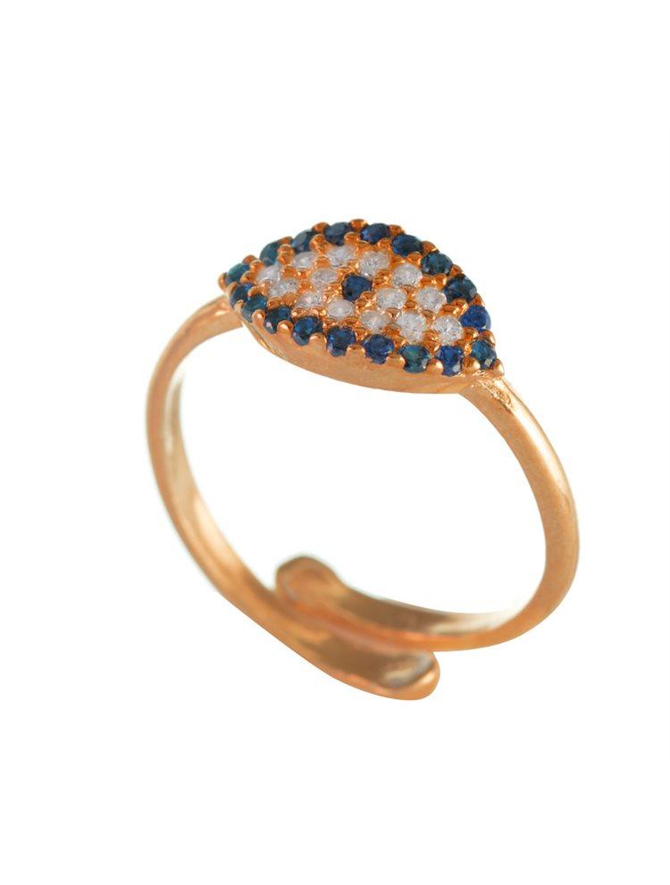 Δαχτυλίδι ματάκι από ρόζ επιχρυσωμένο ασήμι με πέτρες ζιργκόν