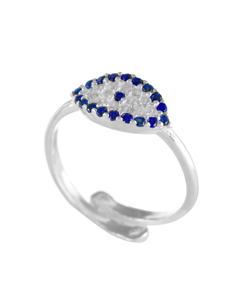 Δαχτυλίδι ματάκι από ασήμι με πέτρες ζιργκόν