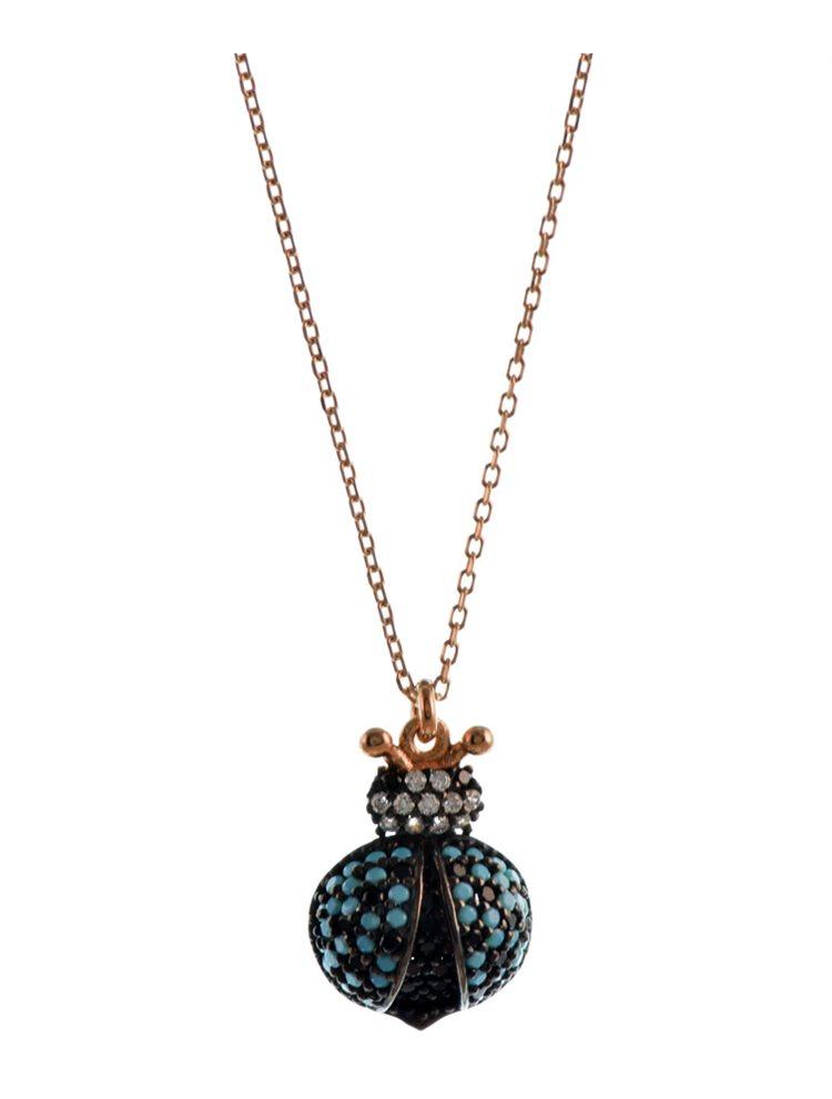 Κολιέ από ρόζ επιχρυσωμένο ασήμι με εντυπωσιακή πασχαλίτσα με πέτρες τιρκουάζ