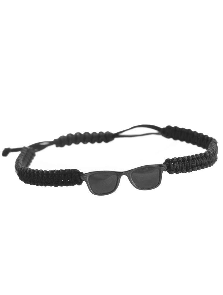 Βραχιόλι unisex γυαλιά ηλίου από ασήμι με μαύρο πλατίνωμα σε μαύρο macrame κορδόνι