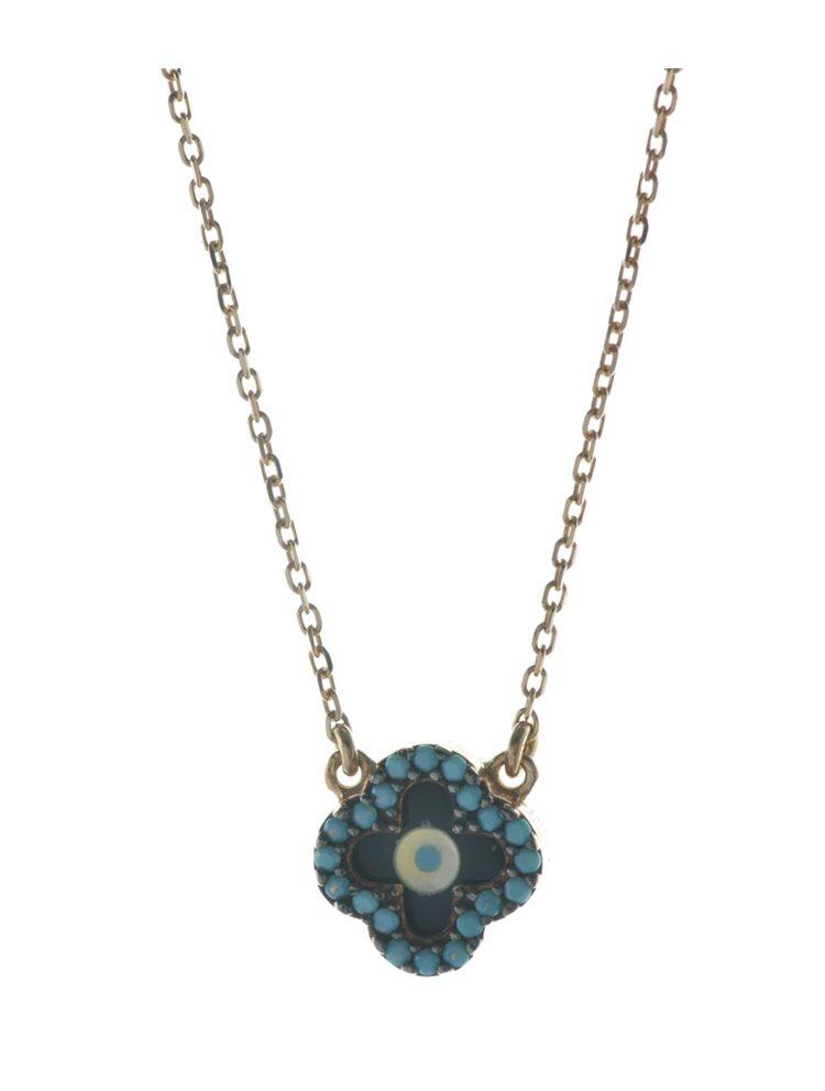 Κολιέ σταυρός από ρόζ επιχρυσωμένο ασήμι με πέτρες τυρκουάζ και ενσωματομένο ματάκι