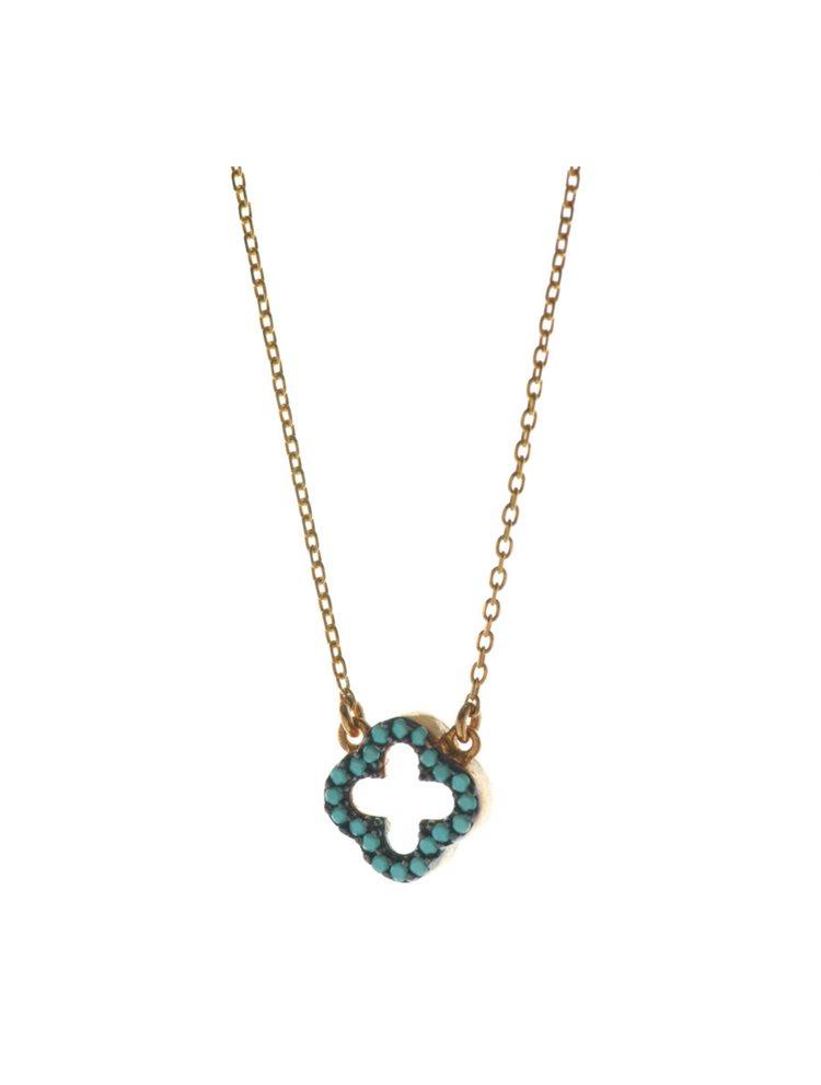 Κολιέ σταυρός από ρόζ επιχρυσωμένο ασήμι με πέτρες τυρκουάζ 9e94c817ea7