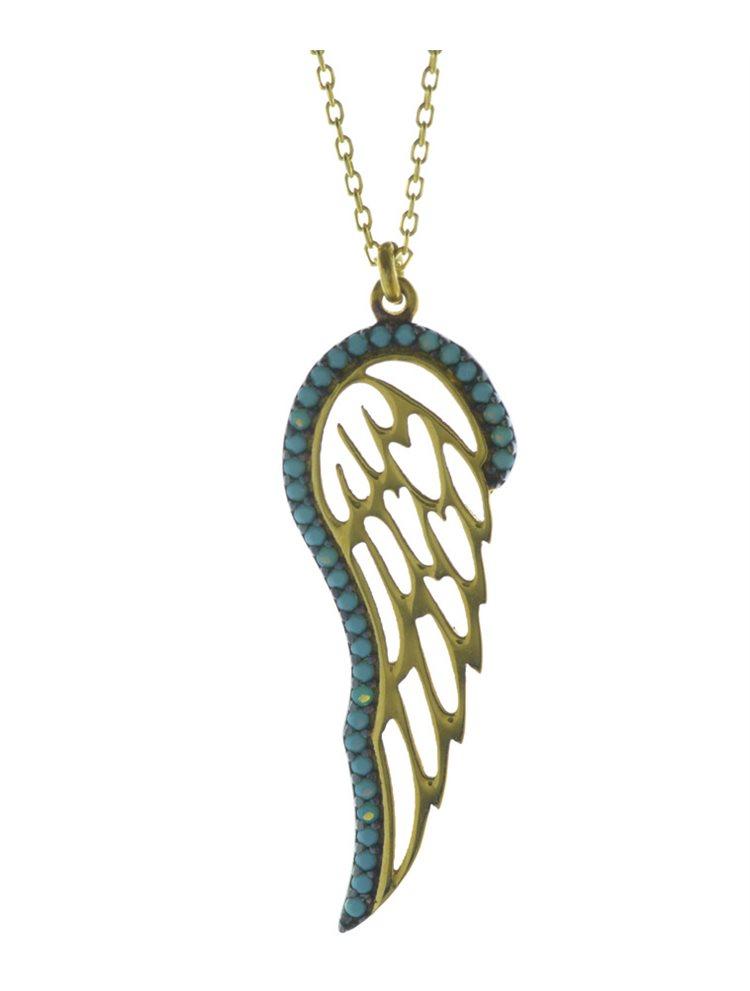 Μοντέρνο κολιέ φτερό αγγέλου από επιχρυσωμένο ασήμι με πέτρες τυρκουάζ