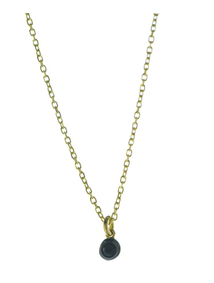 Κολιέ dot μικροσκοπικό από επιχρυσωμένο ασήμι με πέτρα ζιργκόν