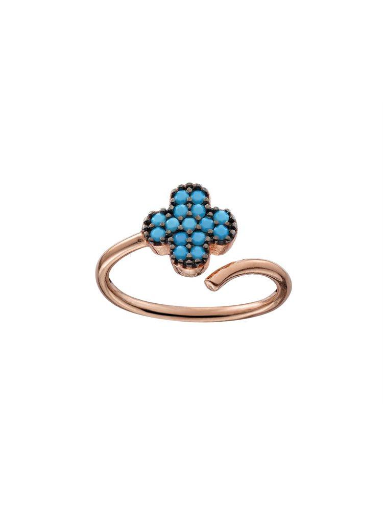 Δαχτυλίδι σεβαλιέ από ρόζ επιχρυσωμένο ασήμι με τυρκουάζ πέτρες
