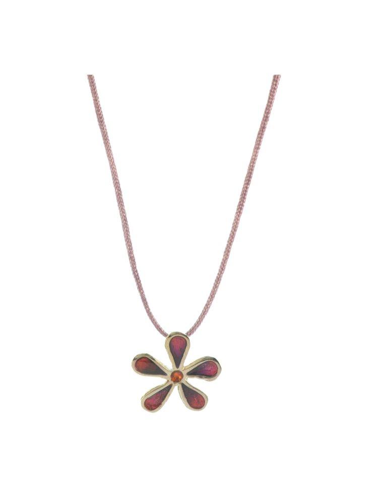Χειροποίητο κολιέ λουλούδι από ασήμι με σμάλτο