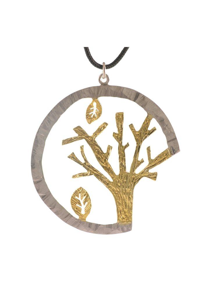 Χειροποίητο κολιέ δέντρο από ασήμι με αυξομειώμενο κορδόνι