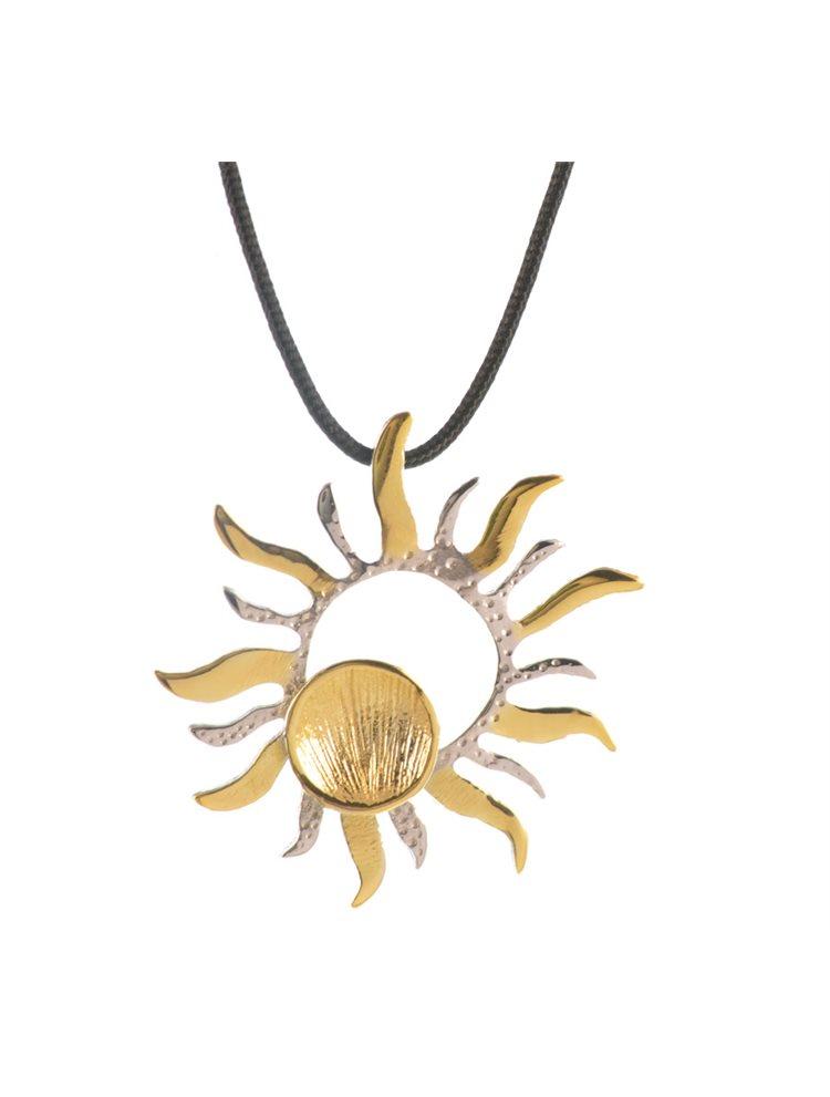 Χειροποίητο κολιέ ήλιος από επιχρυσωμένο ασήμι με αυξομειώμενο κορδόνι