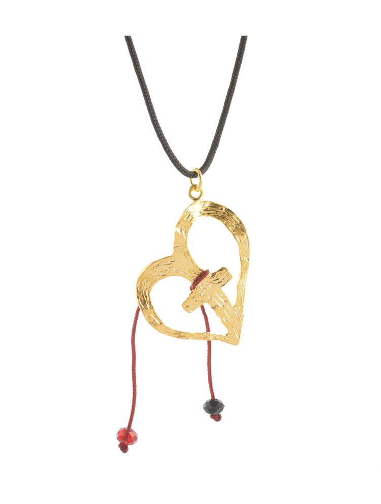 Χειροποίητο κολιέ καρδιά με σταυρό από επιχρυσωμένο ασήμι και αυξομειώμενο κορδόνι