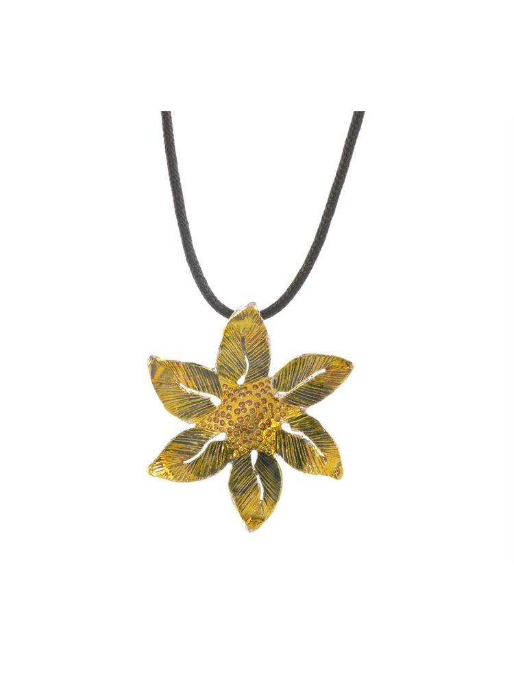 Χειροποίητο κολιέ λουλούδι με σμάλτο από ασήμι με αυξομειώμενο κορδόνι