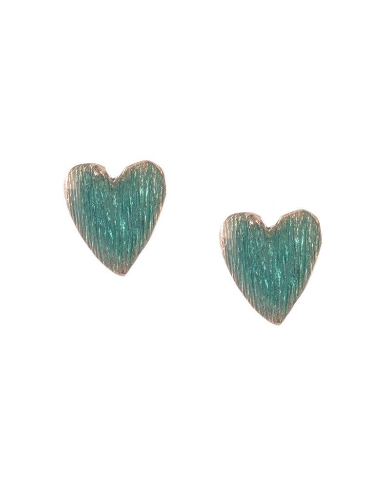 Χειροποίητα σκουλαρίκια καρδιές από ασήμι με σμάλτο