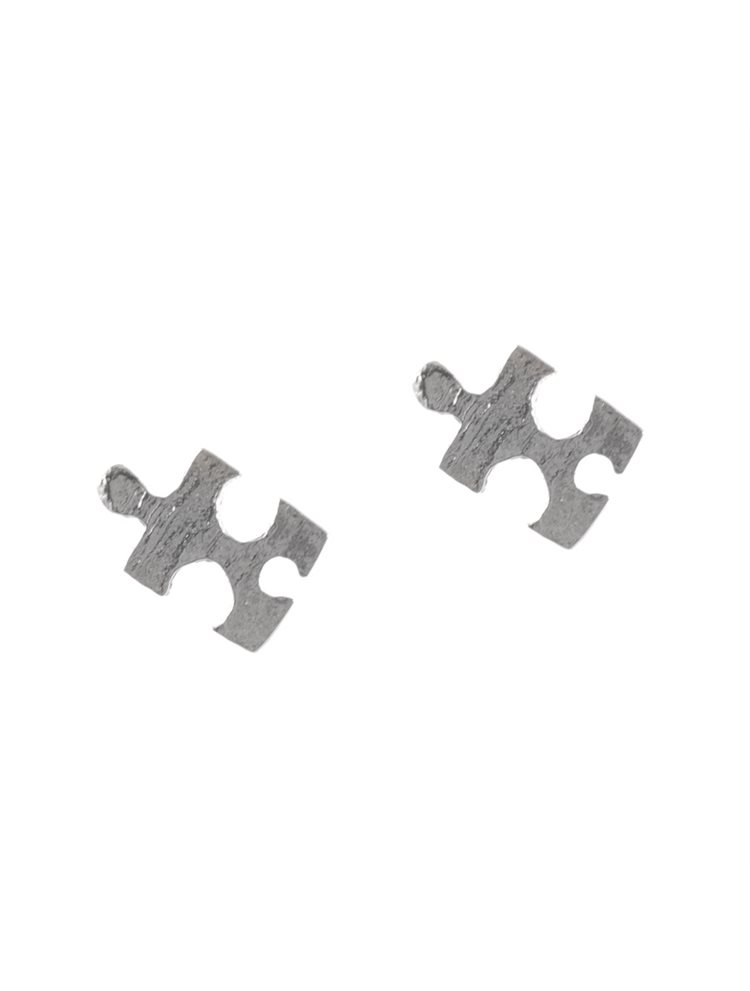 Χειροποίητα σκουλαρίκια puzzle από ασήμι