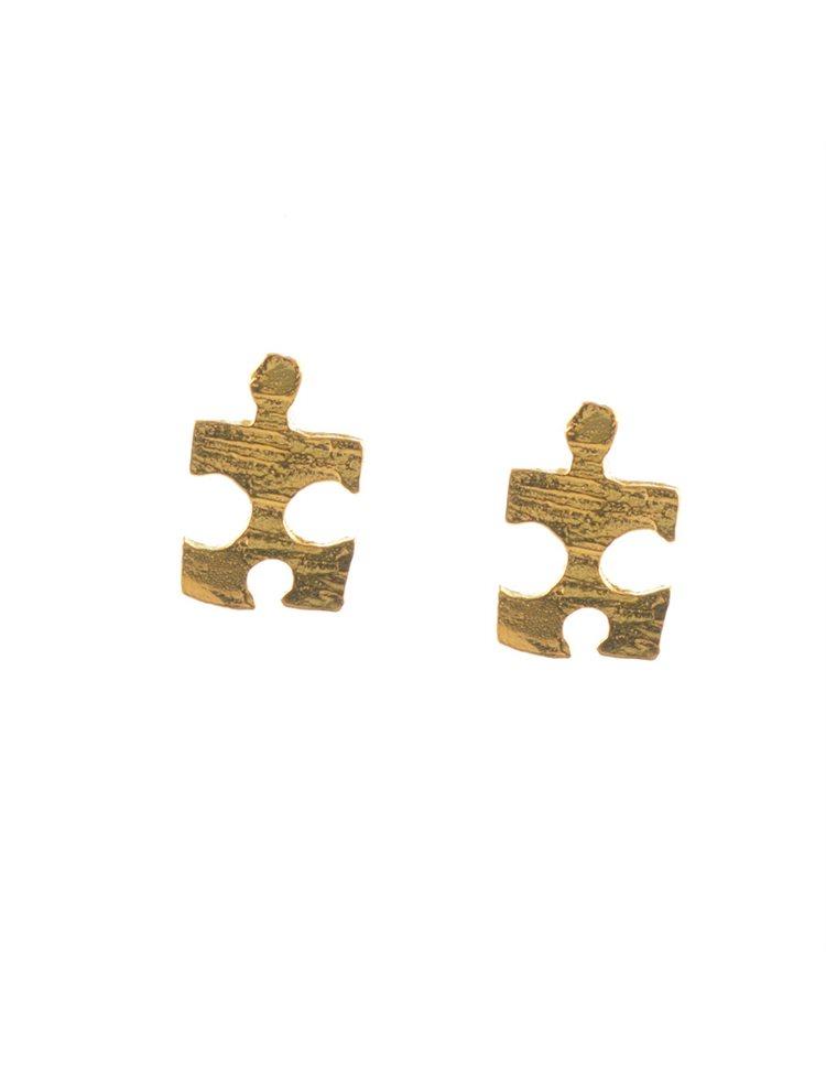 Χειροποίητα σκουλαρίκια puzzle από επιχρυσωμένο ασήμι
