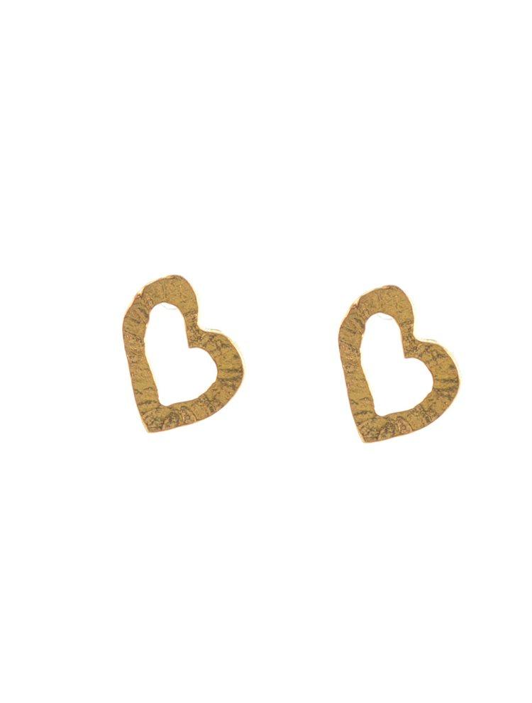 Χειροποίητα σκουλαρίκια καρδιές από επιχρυσωμένο ασήμι