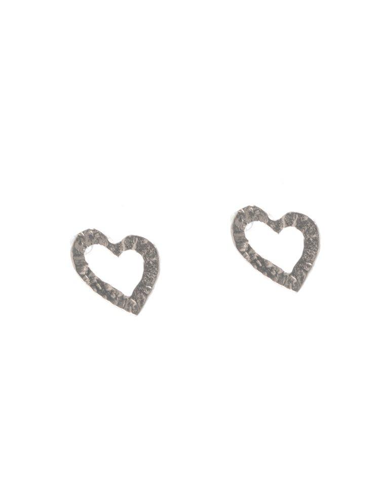 Χειροποίητα σκουλαρίκια καρδιές από ασήμι