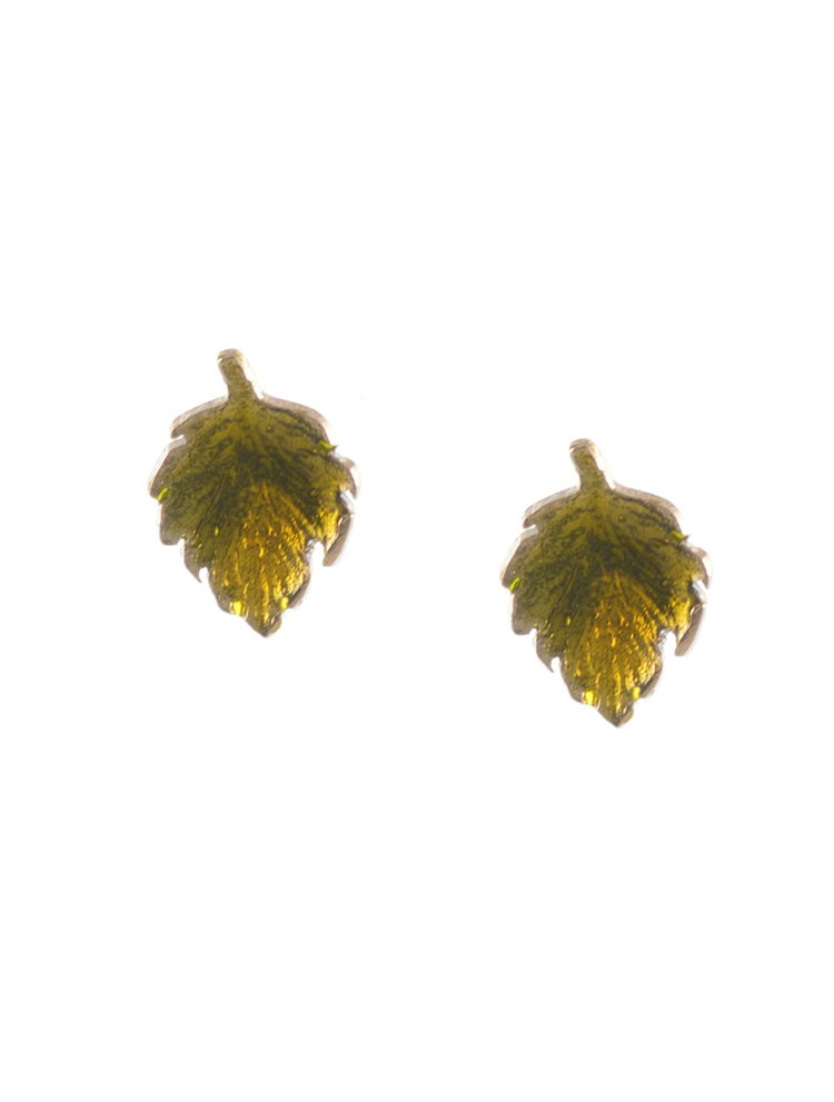 Χειροποίητα σκουλαρίκια φύλλα από ασήμι με σμάλτο