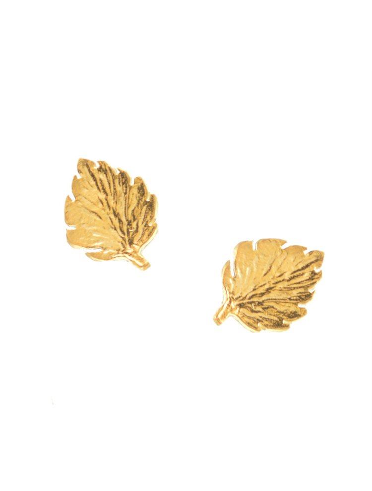 Χειροποίητα σκουλαρίκια φύλλα από επιχρυσωμένο ασήμι