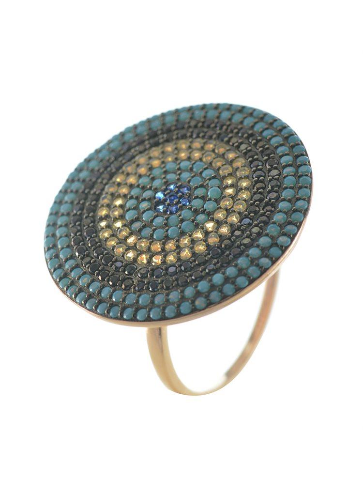 Εντυπωσιακό δαχτυλίδι ματάκι στόχος από ρόζ επιχρυσωμένο ασήμι με πέτρες ζιργκόν