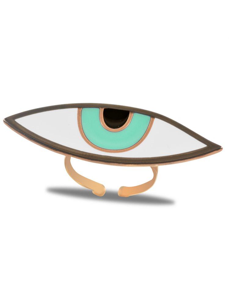 Εντυπωσιακό δαχτυλίδι ματάκι από ρόζ επιχρυσωμένο ασήμι με Light green σμάλτο - Large μέγεθος