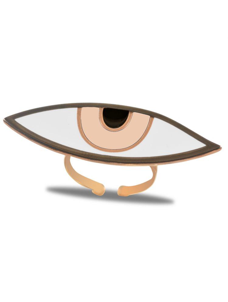 Εντυπωσιακό δαχτυλίδι ματάκι από ρόζ επιχρυσωμένο ασήμι με nude σμάλτο - Large μέγεθος