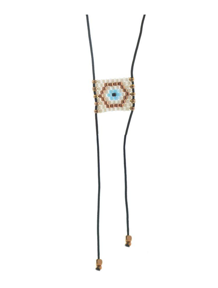 Μοντέρνο κολιέ ματάκι από ρόζ επιχρυσωμένο ασήμι με αυξομειώμενο κορδόνι