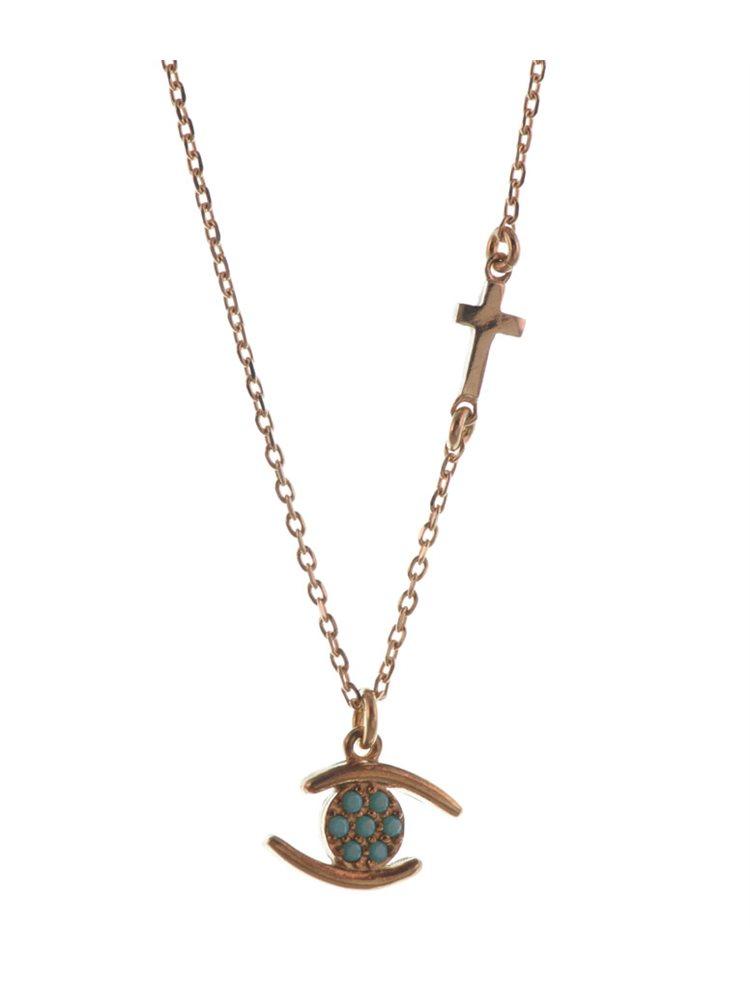 Κολιέ με ματάκι από ρόζ επιχρυσωμένο ασήμι με πέτρες τυρκουάζ