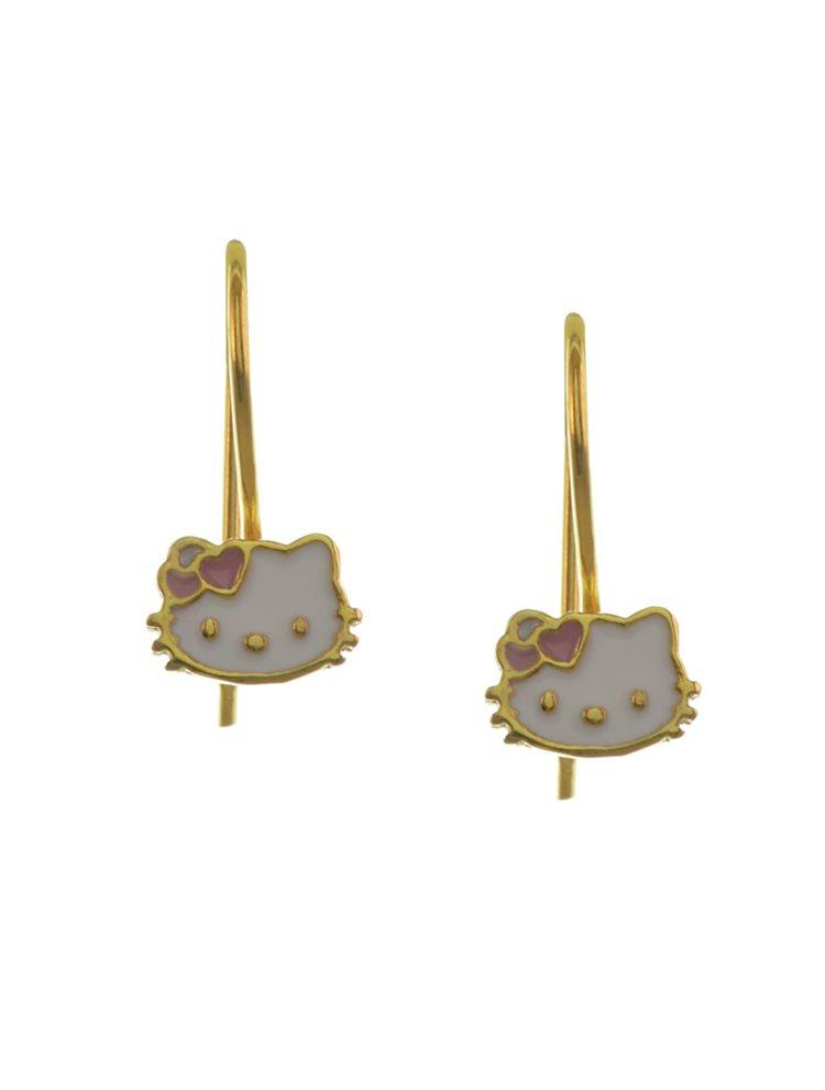 Παιδικά σκουλαρίκια από hello kitty επιχρυσωμένο ασήμι με σμάλτο
