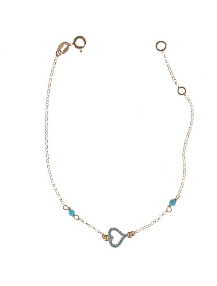 Βραχιόλι από ρόζ επιχρυσωμένο ασήμι καρδιά με πέτρες
