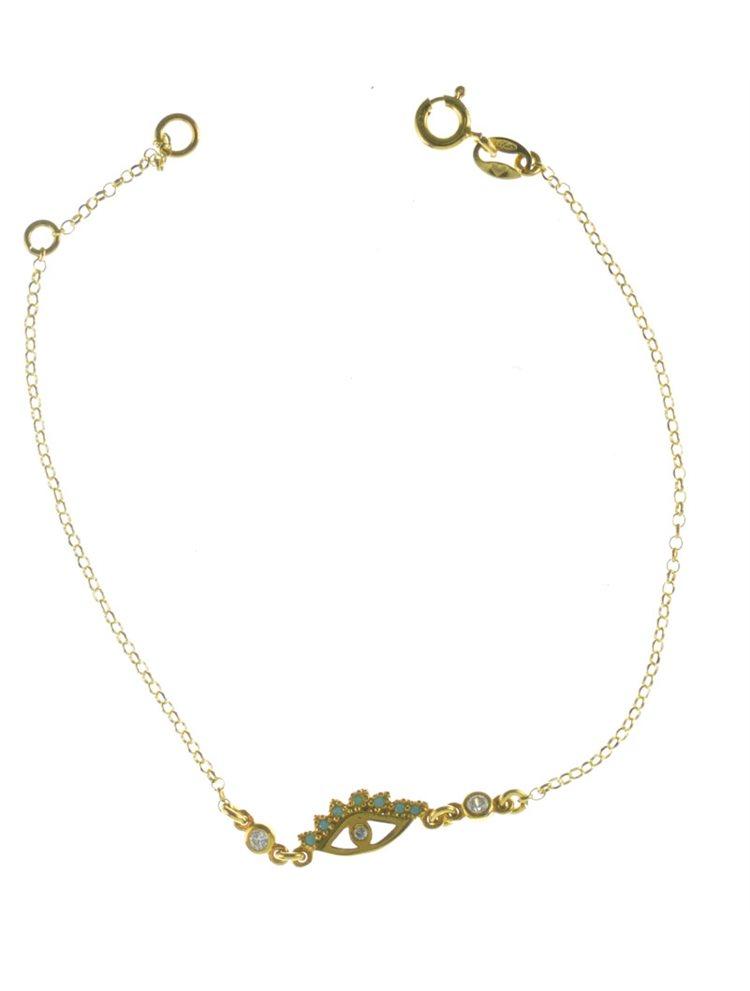 Βραχιόλι ματάκι από επιχρυσωμένο ασήμι με πέτρες ζιργκόν