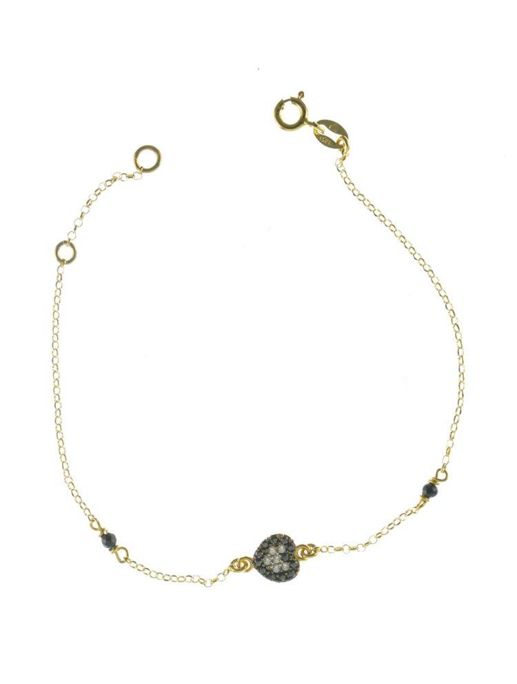 Βραχιόλι καρδιά από επιχρυσωμένο ασήμι με πέτρες ζιργκόν