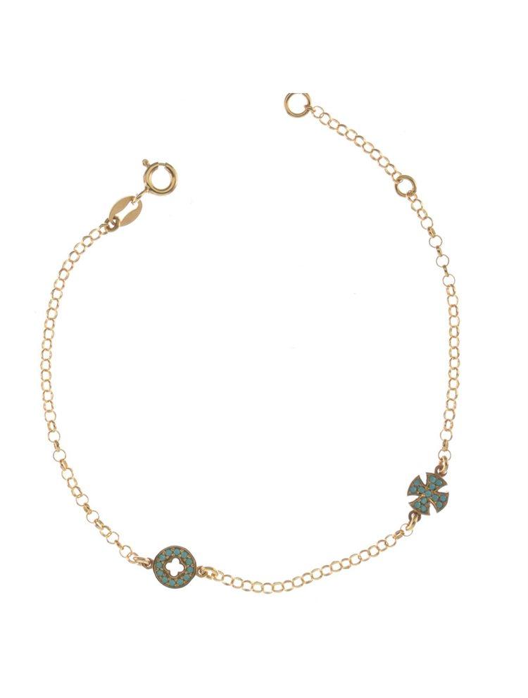 Βραχιόλι με σταυρούς από ρόζ επιχρυσωμένο ασήμι με πέτρες τυρκουάζ
