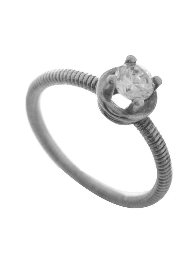 Μονόπετρο δαχτυλίδι από ασήμι με πέτρα ζιργκόν