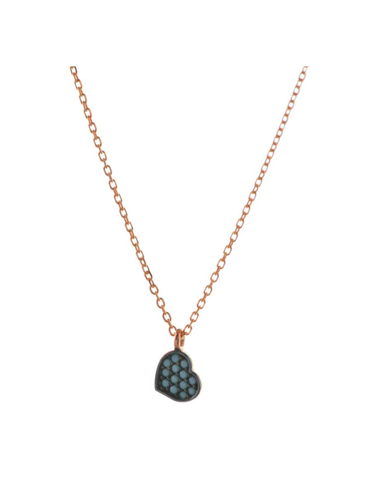 Κολιέ καρδιά από ρόζ επιχρυσωμένο ασήμι με πέτρες τυρκουάζ